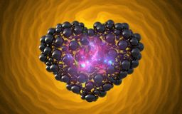 Black heart made of spheres with reflections  on involute bright background. Happy valentines day 3d illustration.  Stock Photos