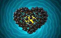 Black heart made of spheres with reflections  on involute bright background. Happy valentines day 3d illustration.  Royalty Free Stock Image