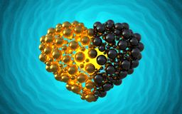 Black heart made of spheres with reflections  on involute bright background. Happy valentines day 3d illustration.  Royalty Free Stock Photo