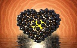Black heart made of spheres with reflections  on involute bright background and waterscape lake. Happy valentines day 3d i. Llustration Royalty Free Stock Photography