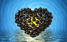 Black heart made of spheres with reflections  on involute bright background and waterscape lake. Happy valentines day 3d i. Llustration Royalty Free Stock Images