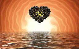 Black heart made of spheres with reflections  on involute bright background and waterscape lake. Happy valentines day 3d i. Llustration Stock Photo
