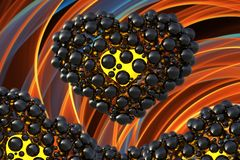 Black heart made of spheres with reflections  on orange flame background. Happy valentines day 3d illustration.  Royalty Free Stock Photo