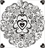 Black heart in ornamental circle Royalty Free Stock Photos