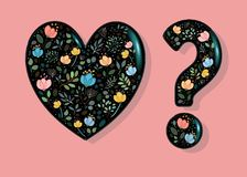 Black Heart and Question Mark. Black Glared Heart and Question Mark with floral decor - watercolor graceful flowers and plants. Vector Illustration Stock Photos