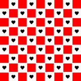 Black heart with red chessboard background great for any use. Vector EPS10. Royalty Free Stock Images