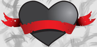 Black heart in red ribbon 1 Royalty Free Stock Photography