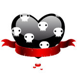 Black heart with red ribbon Royalty Free Stock Photography