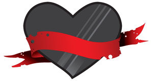 Black heart in red ribbon 2 Stock Images