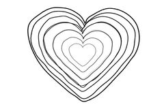 Black Heart shape echoed line art sequence on white stock footage