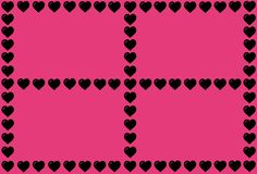 Black Heart Shape on Pink Background. Hearts Dot Design. Can be used for Articles, Printing, Illustration purpose, background,. Pink Background. Hearts Dot stock illustration