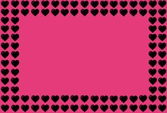 Black Heart Shape on Pink Background. Hearts Dot Design. Can be used for Articles, Printing, Illustration purpose, background,. Heart Shape on Pink Background royalty free illustration