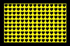 Black Heart Shape on Yellow Background with Black Border. Hearts Dot Design. Can be used for Illustration purpose, background, royalty free illustration