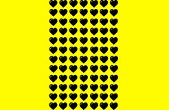 Black Heart Shape on Yellow Background. Hearts Dot Design. Can be used for Illustration purpose, background, website, businesses,. Heart Shape on Yellow vector illustration