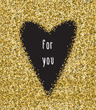 Black heart sign isolated on gold glitter background. Design for wedding card, valentine, save the date, ets Stock Photos