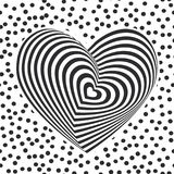 Black heart on white background. Optical illusion of 3D three-dimensional volume. pastel colors polka dot background. Vector. Illustration Stock Photography