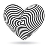 Black heart on white background. Optical illusion of 3D three-dimensional volume. Vector Stock Photography