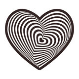 Black heart on white background. Optical illusion of 3D three-dimensional volume. Vector. Illustration Stock Image