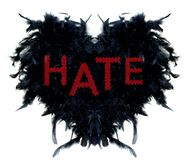 Black hearth made of black feathers with text HATE stock illustration