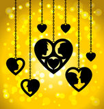 Black hearts hanging on the chains Royalty Free Stock Photography