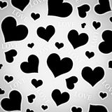 Black hearts and LOVE wording. Stock Photos