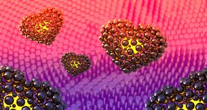 Black hearts made of spheres with reflections and flying over cylindrical abstract bacground. Happy valentines day 3d illustration.  Stock Photos