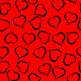 Black hearts pattern on red background. Illustration. Black hearts pattern on red background Vector Illustration