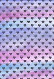 Black hearts on a purple background. background of black hearts. Violet watercolor background. royalty free illustration