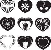 Black Hearts, White Hearts, Hearts Vectors. Black hearts, white hearts, white flowers, black flowers, Valentines decoration, love,hearts , flowers Stock Photos