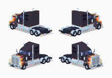 Black heavy american truck with the fire pattern Stock Photo