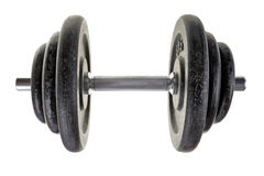 Black heavy dumbbell isolated on white background. Royalty Free Stock Photo