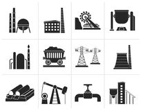 Black Heavy industry icons. Vector icon set Stock Photo