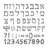 Black Hebrew alphabet of circles. Font. Vector illustration on isolated background Royalty Free Stock Photos