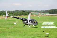 Black helicopter in the international competitions on helicopter sports Royalty Free Stock Images