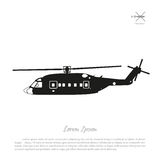 Black helicopter silhouette on a white background. Side view. Vector illustration Royalty Free Stock Photo