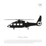 Black helicopter silhouette on a white background. Side view. Vector illustration Royalty Free Stock Photos