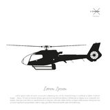Black helicopter silhouette on a white background. Side view. Vector illustration Stock Photography