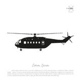 Black helicopter silhouette on a white background. Side view. Vector illustration Stock Photos