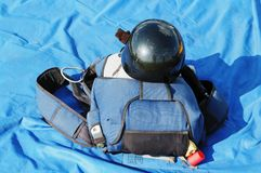 The black helmet and parachute bag Royalty Free Stock Photos