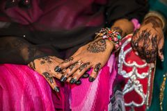 Black Henna Hands Drawings on Women for African Wedding Ceremony stock images