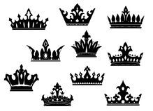Black heraldic crowns set Royalty Free Stock Photography