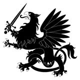 Black heraldic griffin Stock Images