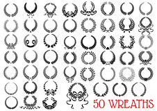 Black heraldic olive and laurel wreaths icons Stock Images
