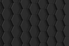 Black hexagon background. 3D illustration.  Royalty Free Stock Photo
