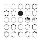 Black hexagon border emblems set on white background Stock Photo