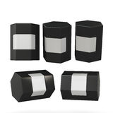 Black hexagon box packaging with clipping path Royalty Free Stock Image