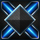 Black hexagon x frame on blue and white light. Background and texture for scifi and game design. 3d illustration royalty free illustration