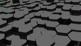 Black hexagon with green and purple edge. 3d render.wallpaper. Royalty Free Stock Photo