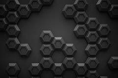 Black hexagon Honeyomb modern technology black abstract 3d  back. Ground Royalty Free Stock Images
