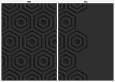 Black hexagon paper abstract background, front and back Stock Images